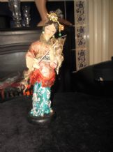 VINTAGE COLLECTABLE COSTUME DOLL ORIENTAL LADY MACHE ? ON WOODEN BASE 9.5""
